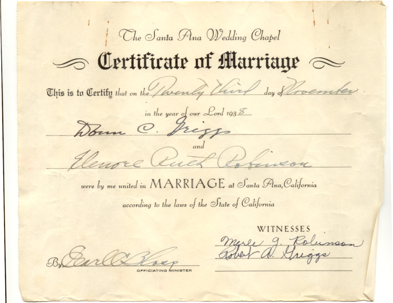Griggs family marriage certificate of donn and elenore 1938 xflitez Images